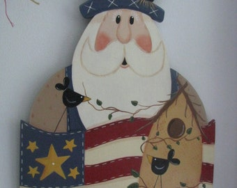 Uncle Sam birdhouse wall hanging, Uncle Sam wall decor, 4th of July flag, patriotic wall hanging, gift for her, hostess gift, July 4th