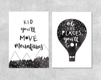 Oh The Places You'll Go, Modern Nursery Wall Art, Adventure Print Set, Black and White Kids Prints, You'll Move Mountains, Adventure Nursery