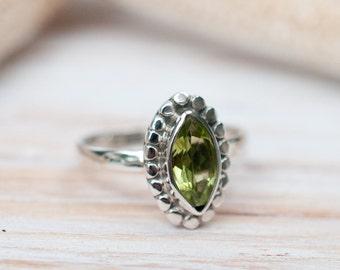 Peridot Ring ~ Sterling Silver 925 ~ Jewelry ~ Handmade ~ Everyday ~Casual ~Delicate ~August Birthstone ~Boho~Hippie ~Bohemian~Maresia MR013