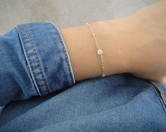 Gold Tiny CZ Bracelet, Tiny Cubic Zirconia Bracelet, Satellite Chain Bracelet, Gold Layer Bracelet, Tiny CZ Bracelet, Beaded Chain Bracelet