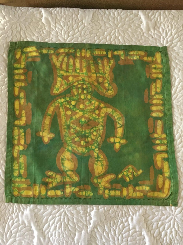 Batik fabric petroglyphs / shawl / kerchief / neck wear /