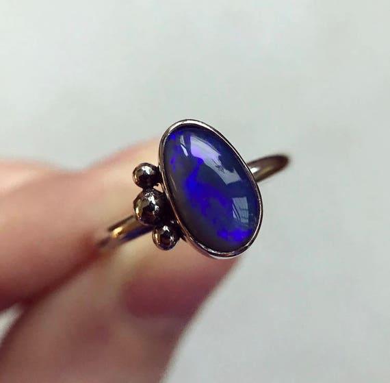 """Sterling silver """"Noelle"""" ring with Australian black opal SZ 7"""