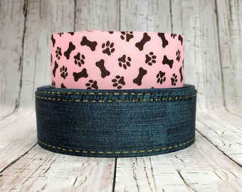 "1.5"" Dog Denim Ribbon Bone Western Cowgirls Back to School Holiday Summer Grosgrain Hair Bow - Sold by 5 Yards"