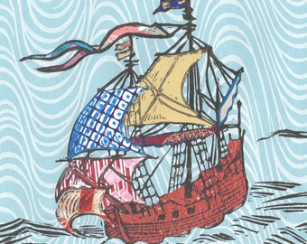 Sailing Ship XXIII - Block Print with Mixed Papers - Lino Block Print Historic Sailing Ship, Exploration, Collaged Japanese Papers