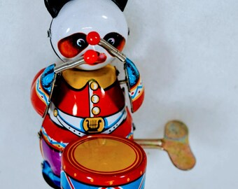 Vintage Wind Up Panda Drummer Clockwork Mechanical Tin Toy Amusing Gay with KEY