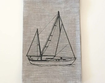 Kitchen Towel - Sailboat Linen Tea Towel - Choose your fabric and ink color