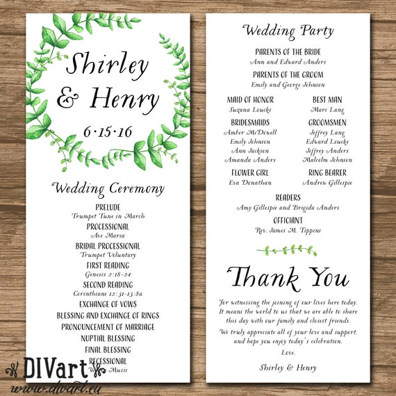 Wedding program ceremony program order of events wedding junglespirit Choice Image
