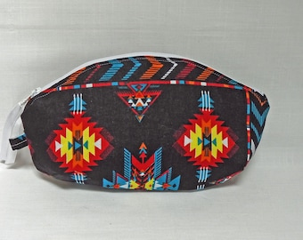 Tribal Print Curved Pouch OOAK