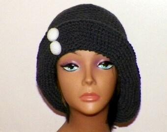 Gray Cloche Hat Chemo Flapper Womens  Downton Abbey Charcoal Freeform Beanie Crochet Gatsby Button Bucket 1920s Style