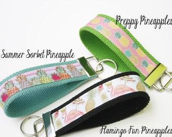 Pineapple Party  Key Fob, Flamingo Key Fob, Wristlet Key Chain, Wristlet Key Ring, Beach Keyring, Summer keyfob, Pineapple keychain, OhKoey