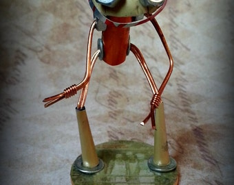 Dank - Hand made recycled robot from the World of Tinktopia. Tin Robots Vintage Robots. Father's day gifts