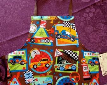 Kids Apron, Size 2 Children's Apron, Race Cars, Boy Apron