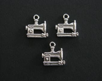 Sewing Machine Charms, Antique Silver, Zinc Based Alloy, 1.5cm X 1.5cm, Set of 3   (C169)