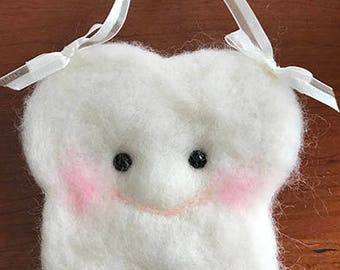 TOOTH FAIRY PILLOW, wool needle felted