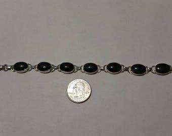 """Vintage sterling silver bloodstone 7.5"""" bracelet baer"""