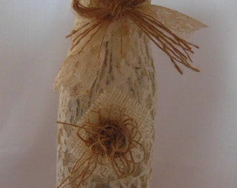 Rustic petite burlap and antiqued lace bottle