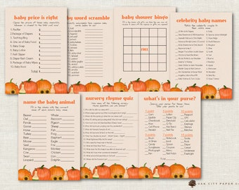 Fall Baby Shower Games - Pumpkin Baby Shower Games, Halloween Baby Shower Games, Baby Shower Games, Autumn Baby Shower Games, Printable