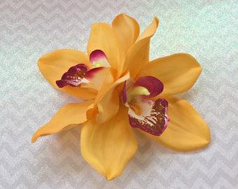 Orchid Hair Clip, Hawaiian Hair Clip, Tropical Hair Flower, Bridal Hair Clip, Pinup Hair Flower, Tropical Hair Clip, Tiki Hair Flower, Gold