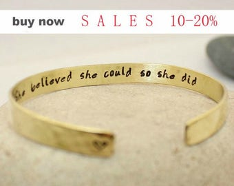 She Believed She Could So She Did - Bangle Bracelet - Personalized Cuff Gold Bracelet - Bridesmaid Gift Anniversary Gratitude Gift