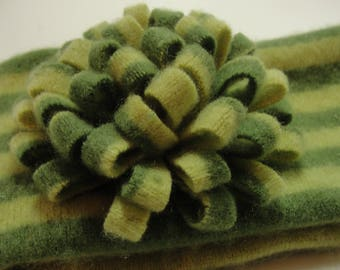 Upcycled Lime and Chartreuse  Cashmere Earwarmer Headband with Flower
