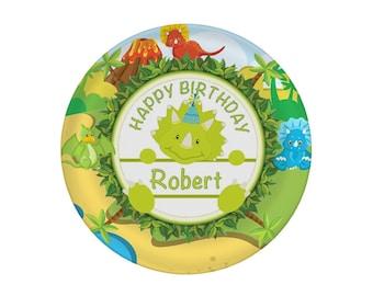 Birthday Plate Personalized - Dinosaur Birthday Plate - Children's Plate - Kids Birthday Plate - Custom Melamine Plate - Mad For Monograms
