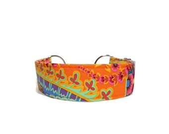 Paisley Jungle Dog Collar, Spring Cat Collar, Boy Dog Collar, Girl Dog Collar, Made To Order, Available in Buckle or Martingale.
