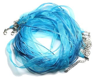 100pc - necklaces neck 47cm cotton and 10mm blue Turquoise Peacock Organza fabric