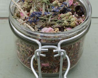 Glass Jar and Natural Dried Flowers, Herbs, Potpourri, Petals LAVENDER BLEND No6
