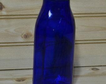 Vintage Cobalt Blue Glass Bottle Metal Lid Medicine Drugstore Bottle Screw Top Maryland Glass Corporation
