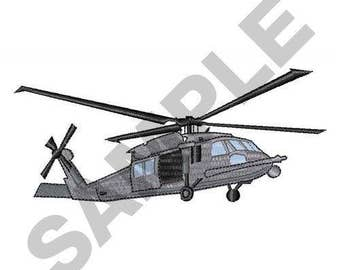 Black Hawk Helicopter - Machine Embroidery Design