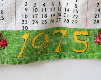 Vintage 1975 Linen Calendar Red Yellow  Cottage Trees Flowers Garden Message Bless This House Home Decor Vintage Tea Dish Kitchen Towel
