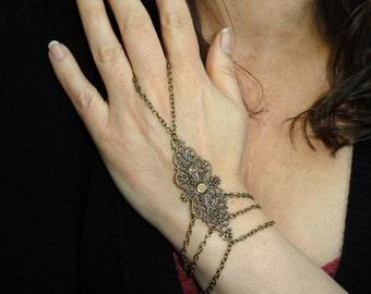 Slave bracelet, Bronze slave bracelet ring, Boho hand bracelet ring, Bohemian hand jewelry, Bohemian slave bracelet ring