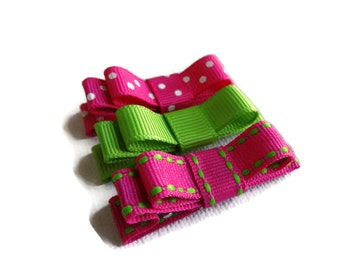 Small Bow Hair Clips - Pink Green Hair Clips - Hair Clips for Baby - Baby Hair Clip - Set of 3 Baby Barrettes - Pink Hair Clips - Pink Bows