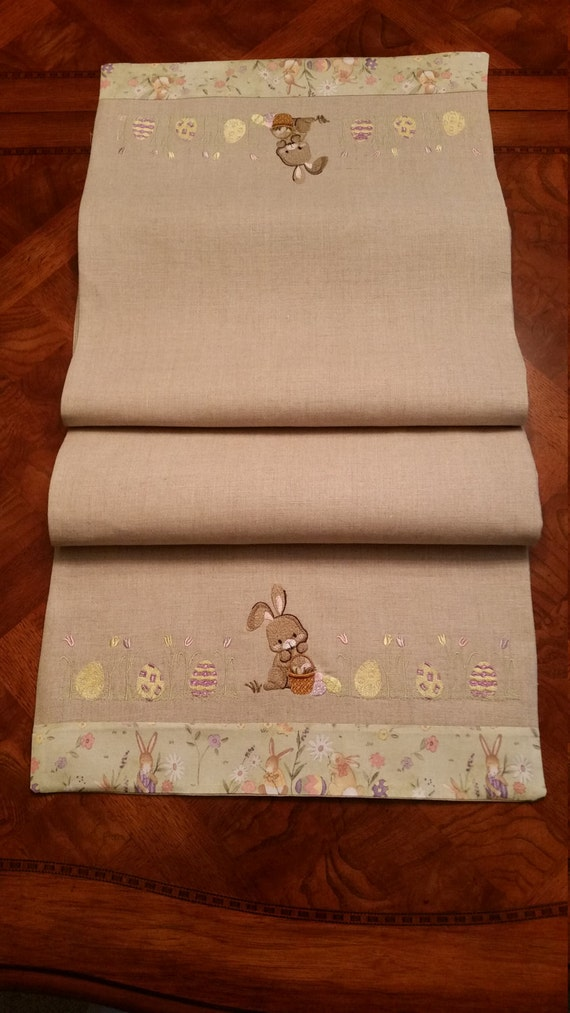 easter table runner embroidered table runner bunny and. Black Bedroom Furniture Sets. Home Design Ideas