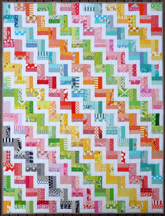Zig Zag Rail Fence Quilt Pattern PDF by Red Pepper Quilts : zig zag quilt patterns - Adamdwight.com