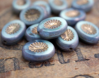 Oval Glass Beads Carved Beads Mint Plus Blue With Bronze Finish 14x10mm  (6)