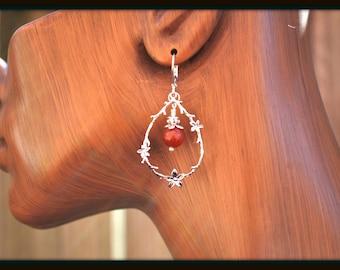 Carnelian Earrings, Flower Vine Earrings, Carnelian Teardrop Earrings, Flower Earrings, Carnelian Flower Earrings, Red Carnelian Dangles