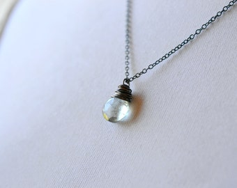 Wire Wrap Gemstone Necklace, Simple Oxidized Silver Wire Wrap Jewelry, Sage Green Pale Teal Quartz Stone Dangle