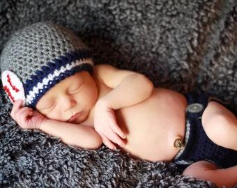 Baby Diaper Cover and Beanie navy blue, silver, white (baseball beanie baby gifts beanie newborn hat newborn diaper cover) choose team