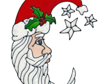 Crescent Santa Window Cling