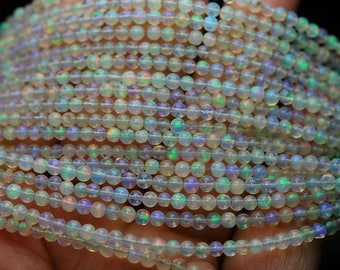 7 Inch Strand,Super AAA Quality,Natural Ethiopian Opal Smooth Round Rondelles Super Flashy Strand,Size 3-3.5mm