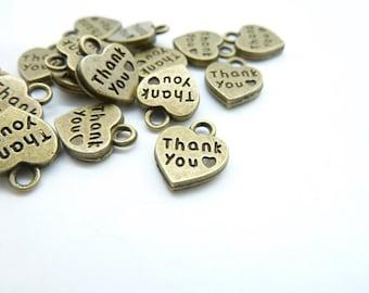 """30pcs 10x12mm Antique Bronze Letter """"Thank You"""" Heart Charm Pendant C7025"""