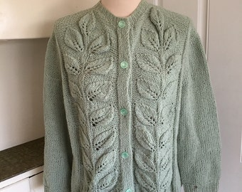 Norwegian Wood - 1960's Hand Knitted Leaf Cardigan