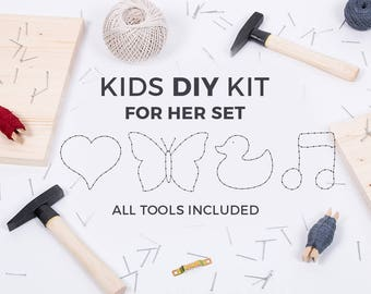 Kids DIY string art kit / GIRLS SET / heart, butterfly, duck, note / educational toy / kids craft kit / kids toys / gift for kids