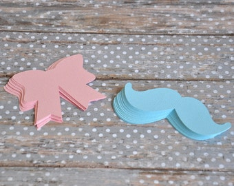 Pink Bows and Blue Mustaches - Gender Reveal, Baby Showers!  Die Cut Bows and Mustaches - Set of 30