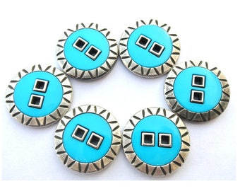 Vintage buttons, turquoise shade plastic with silver color metal 23mm, 6 buttons