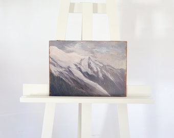 Mountain Painting Mountainscape Alps Snow Capped Mountain Original Oil Painting 1920s Landscape