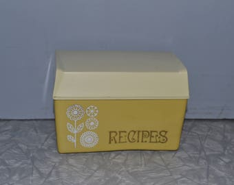 Vintage Mustard Recipe Box ~ Retro 70s Kitchen Storage ~ Yellow Floral Recipe Box