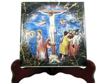 Christian gifts - Crucifixion of Jesus - christian plaque - christian icon on ceramic tile - christian art - Crucifixion icon - Giotto