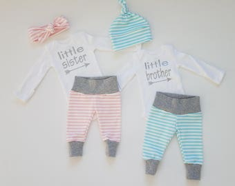 Little Brother. Little Sister. Baby Coming Home Outfit Set. Sip and See Matching Set. Twin Gender Reveal. Matching Twin Coming Home Outfits